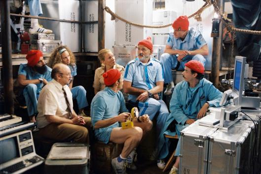 Team Zissou with reporter Jane Winslett-Richardson (Cate Blanchett)
