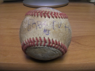 "My son's ""autographed"" Babe Ruth ball."