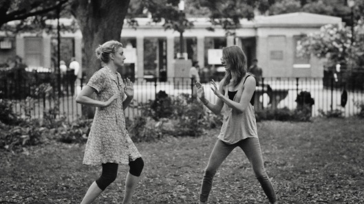 Frances and Sophie slapboxing, two peas in a pod.
